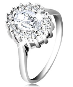 Bijuterii eshop - Inel de logodna din argint 925, zirconiu ovala ?lefuit, margine compus? din zirconii mici K02.04 - Marime inel: 49