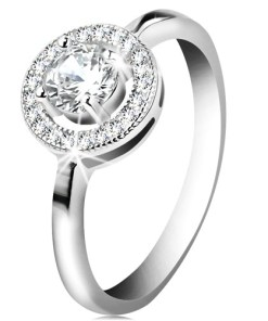 Bijuterii eshop - Inel de logodna din argint 925, zirconiu rotunda?i transparent în cerc lucios K01.07 - Marime inel: 51