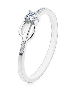 Bijuterii eshop - Inel din argint 925, brate îngusta decorate cu zirconii transparente, trident H9.06 - Marime inel: 48