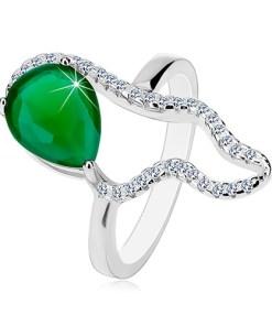 Bijuterii eshop - Inel din argint 925 - zirconiu mare verde în form? de lacrima, contur asimetricatransparent K05.02 - Marime inel: 50