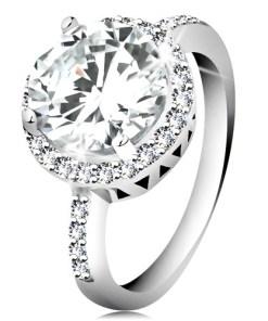 Bijuterii eshop - Inel din argint 925, zirconiu rotundafa?etat, margine din zirconii transparente H9.16 - Marime inel: 49