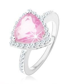 Bijuterii eshop - Inel din argint 925 zirconiu roz, triunghiular, margine lucioasa K06.14 - Marime inel: 47