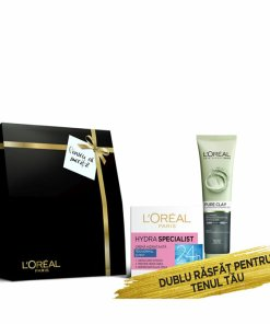 Set cadou Crema de zi hidratanta L Oreal Paris Hydra Specialist pentru ten normal si mixt 50 ml + Gel de curatare iluminator L Oreal Paris Pure Clay cu carbune 150 ml