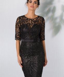 Rochie MBG neagra din tull cu broderie florala eleganta