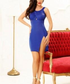 Rochie mini albastra cu crapatura pe picor