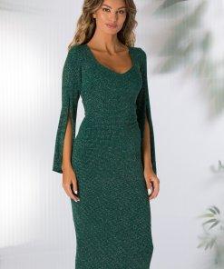 Rochie Moze verde cu fronseu in talie