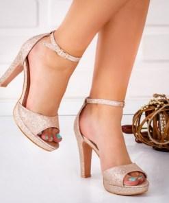 Sandale dama cu toc champagne Virva -rl