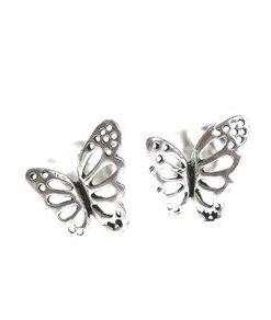 Cercei delicati, fluture argint