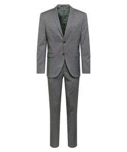 SELECTED HOMME Costum 'SLHSLIM-MYLOLOGAN DK GREY STRUC SUIT B'  gri inchis