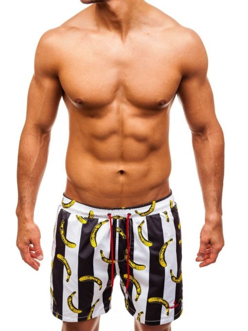 Pantaloni scurți de baie pentru bărbat negri Bolf 2376