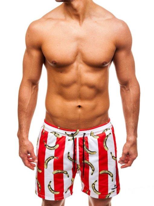 Pantaloni scurți de baie pentru bărbat roșii Bolf 2376