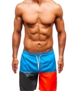 Pantaloni scurți de baie albastru-deschis bărbați Bolf 335