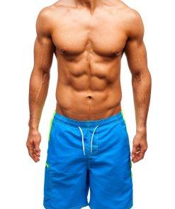 Pantaloni scurți de baie albastru-deschis bărbați Bolf 340