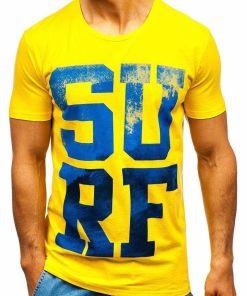 Tricou cu imprimeu bărbați galben Bolf 1240