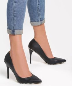 Pantofi stiletto Beads Negri