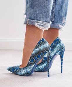 Pantofi stiletto Stamp Albastri
