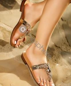 Papuci aurii cu accesoriu din pietre 5271-2