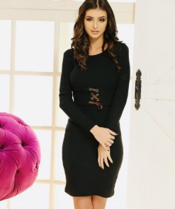 Rochie Ariana neagra cu banda elastica in talie