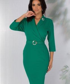 Rochie Vania verde office cu rever si curea