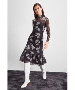 Rochie tulle Trendyol Black Flower Patterned tulle Knitted Dress 1062431