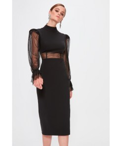 Rochie tulle Trendyol Black Sleeves tulle Detailed Dress 1029174