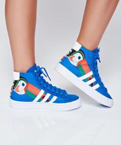 Pantofi sport Adidas originals courtvantage albastru cu siret cu print