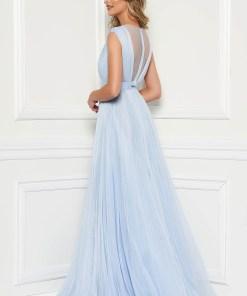 Rochie Ana Radu albastru-deschis de lux din tul captusita pe interior cu bust buretat de seara