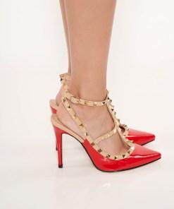 Pantofi stiletto rosu eleganti din piele ecologica lacuita cu toc inalt si tinte metalice