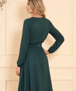 Rochie StarShinerS verde midi de ocazie in clos din material vaporos cu elastic in talie cu maneci lungi si decolteu petrecut