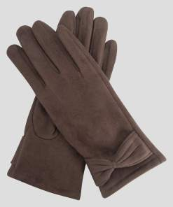 Mănuși din eco-piele întoarsă maro