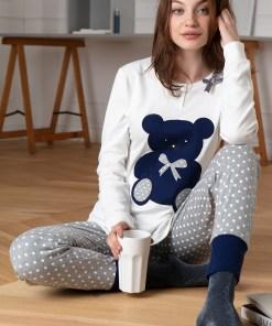 Pijama dama Bear, din bumbac