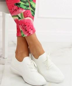 Adidasi din material textil elastic alb cu talpa groasa