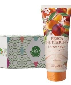 Crema de corp cu aroma de nectarine in cutie cadou