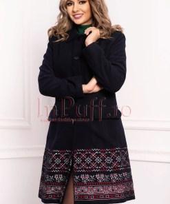 Palton dama MBG bleumarin cu motive traditionale din lana cu buzunare laterale