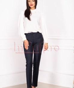 Pantaloni dama office in carouri conici din stofa