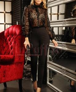 Pantaloni de dama Fofy negri lungi cu talie inalta din stofa