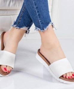 Papuci Anamisa albi cu talpa joasa-rl