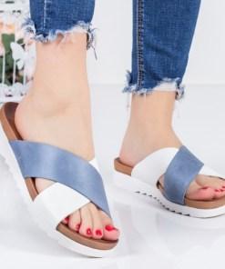 Papuci Milasa albi cu albastru-rl