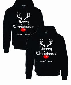 Set 2 Hanorace cuplu PinkPrint, model Merry Christmas reindeer, negru