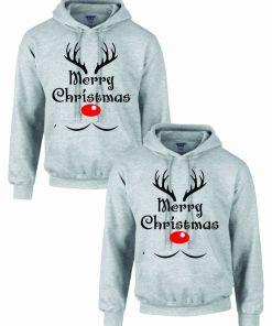 Set 2 Hanorace cuplu PinkPrint, model Merry Christmas reindeer, gri