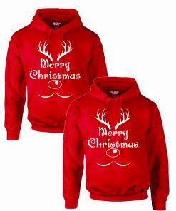Set 2 Hanorace cuplu PinkPrint, model Merry Christmas reindeer, rosu