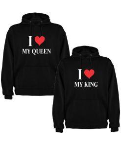 Set 2 Hanorace cuplu My King si My Queen, negru/alb