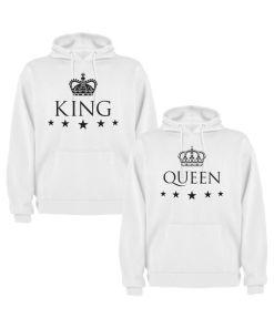 Set 2 Hanorace cuplu King si Queen, alb/negru