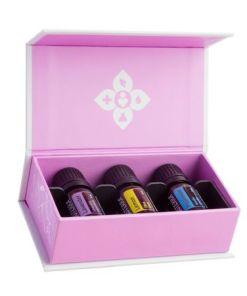 Set uleiuri esentiale doTERRA, 3x5ml, pentru alergii, Lavanda, Lamaie, Menta + ulei Mayam portocala dulce BIO, 10ml