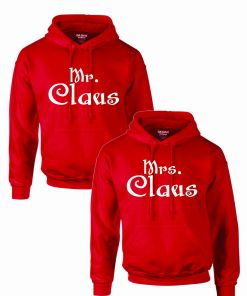 Set 2 Hanorace cuplu PinkPrint, model Mr&Mrs Claus, rosu