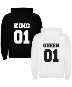 2 Hanorace cuplu King 01 si Queen 01, negru+alb