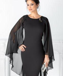 Rochie Calida neagra cu brosa si voal pe spate