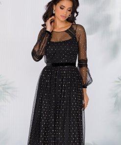 Rochie Leonard Collection neagra din tull fin plisat cu buline din glitter auriu