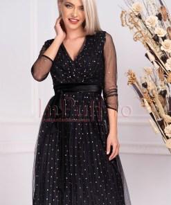 Rochie neagra cu buline aurii de seara midi din tul plisat cu maneca trei sferturi