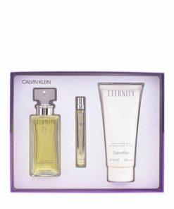 Set cadou Calvin Klein Eternity (Apa de parfum 100 ml + Lotiune de corp 200 ml+ Apa de parfum miniatura 10 ml), Pentru femei